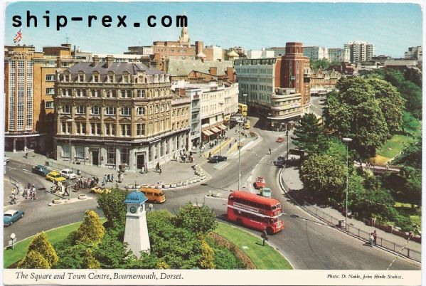 Bournemouth, Square and Town Centre - postcard